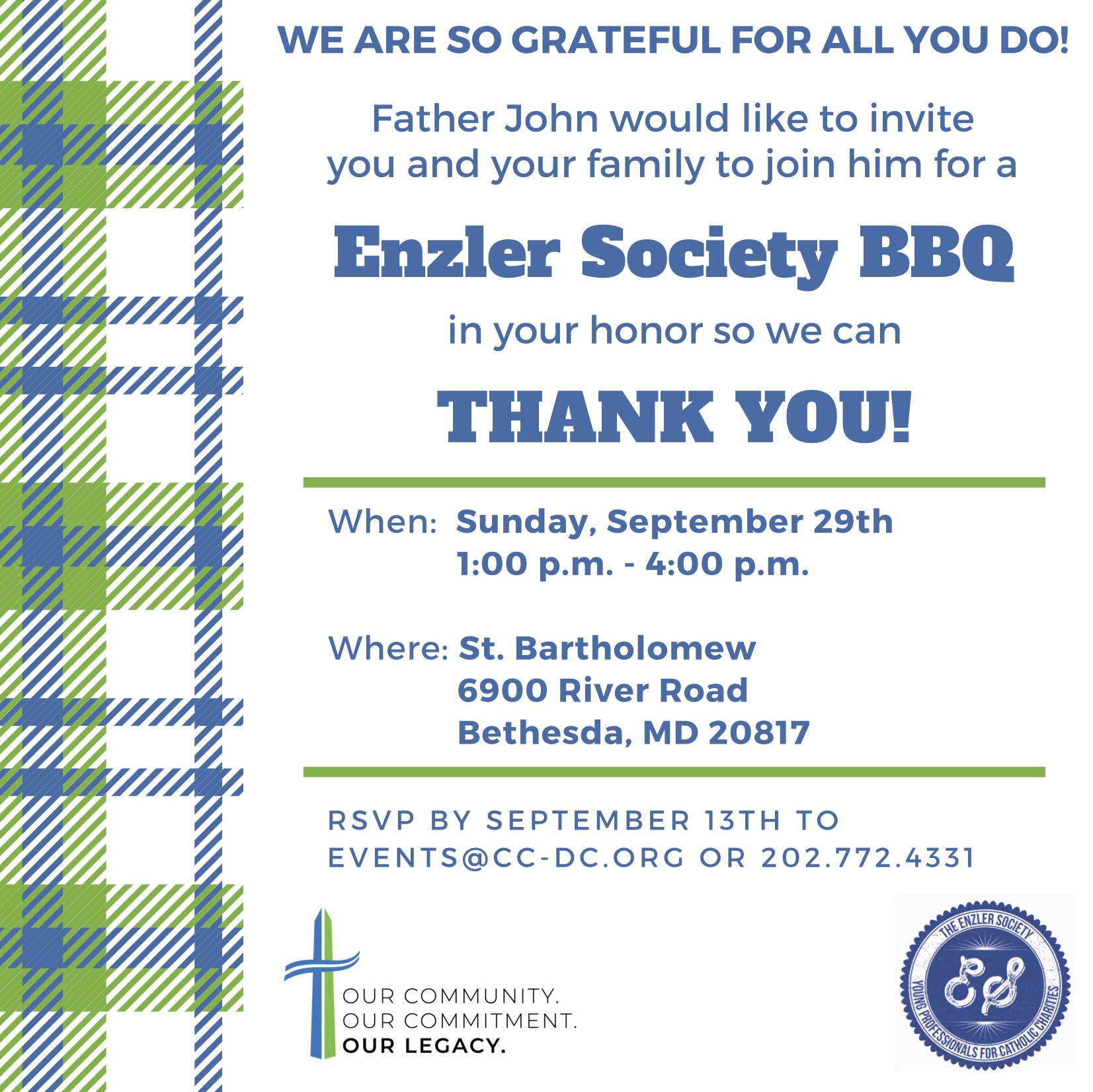Enzler Society BBQ @ St. Bartholomew | Bethesda | Maryland | United States